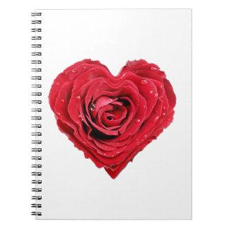 Corazón color de rosa libreta