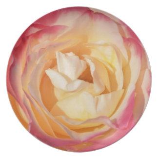 Corazón color de rosa plato de cena