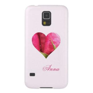 Corazón color de rosa rosado conocido de encargo fundas para galaxy s5