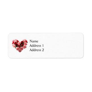 Corazón color de rosa y del clavel etiqueta de remite