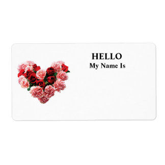 Corazón color de rosa y del clavel etiquetas de envío