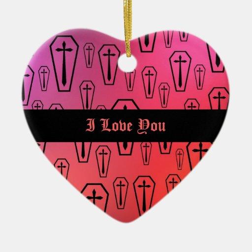 Corazón colorido de los ataúdes te amo adorno navideño de cerámica en forma de corazón