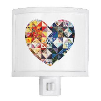 Corazón colorido del edredón de remiendo lámparas de noche