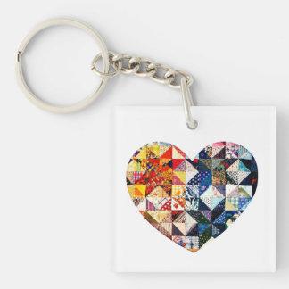 Corazón colorido del edredón de remiendo llavero cuadrado acrílico a una cara