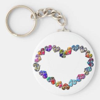 Corazón colorido del Puzzler Llavero Personalizado