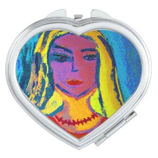 Corazón Compact Mirror espejo de bolsa mujer pinta Espejos De Maquillaje