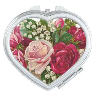 Corazón compacto del espejo de los rosas florales espejos de maquillaje