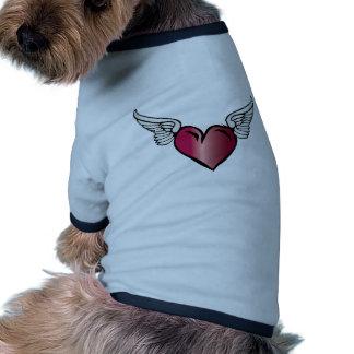 Corazón con alas - alas del romance del amor camisa de perro