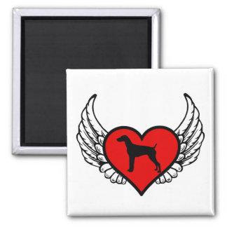 Corazón con alas alemán del indicador de pelo imán cuadrado