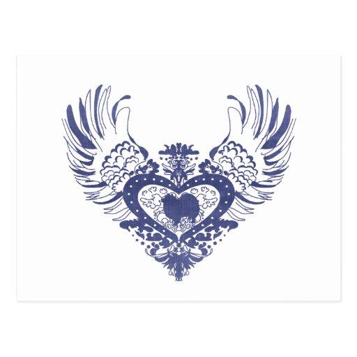 Corazón con alas americano del perro esquimal postal