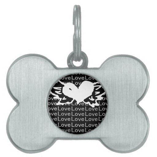 Corazón con alas amor blanco y negro placas de mascota