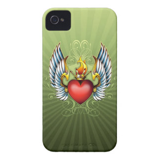 Corazón con alas con el caso del iPhone 4 de la co iPhone 4 Carcasas