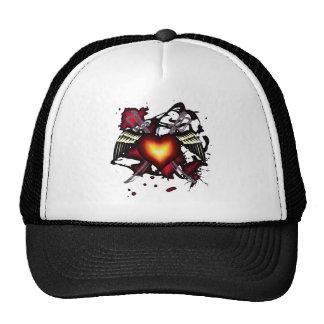 Corazón con alas con la camisa de las espadas gorros