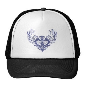 Corazón con alas conejo gorras
