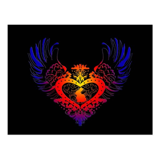 Corazón con alas conejo tarjeta postal