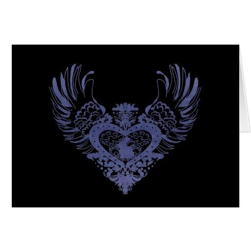 Corazón con alas conejo tarjeton