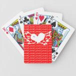 Corazón con alas del amor cartas de juego