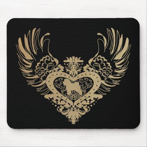 Corazón con alas Frise de Bichon Alfombrilla De Raton