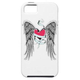 Corazón con alas funda para iPhone 5 tough