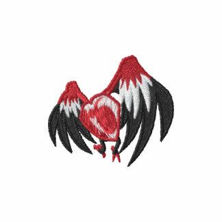 Corazón con alas gótico punky sudadera bordada con capucha