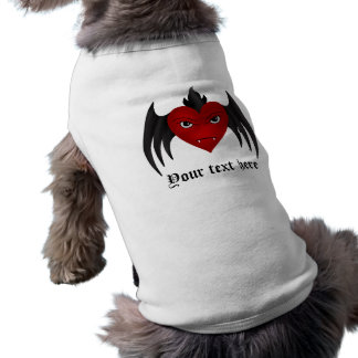 Corazón con alas gótico, su texto aquí playera sin mangas para perro