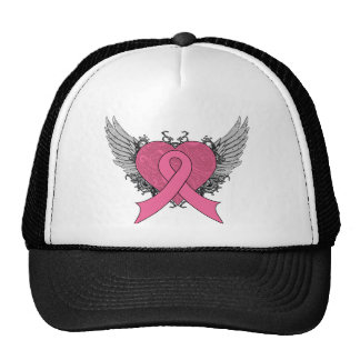 Corazón con alas Grunge - cáncer de pecho Gorra