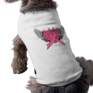 Corazón con alas Grunge - cáncer de pecho Camisa De Mascota