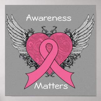 Corazón con alas Grunge - conciencia del cáncer de Poster