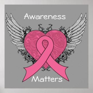 Corazón con alas Grunge - conciencia del cáncer de Posters
