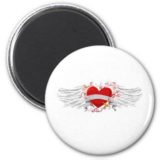corazón con alas imán redondo 5 cm