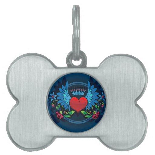 Corazón con alas placas de nombre de mascota