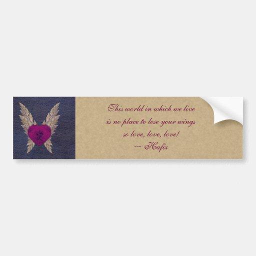 Corazón con alas púrpura pegatina de parachoque