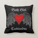 Corazón con alas rojo oscuro gótico personalizado almohadas