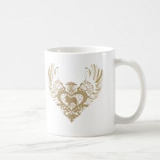 Corazón con alas samoyedo taza básica blanca