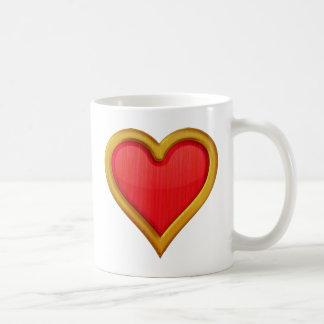 Corazón con borde de oro tazas