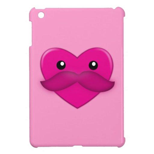Corazón con el bigote y el modelo iPad mini protectores