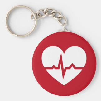Corazón con el cardiólogo de la onda de ECG o la e Llaveros