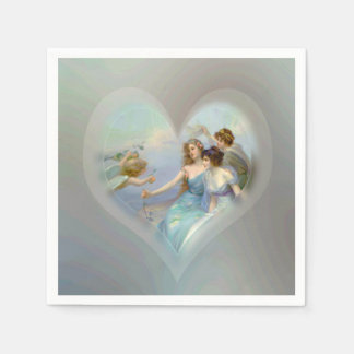 Corazón con el Cupid y las señoras Servilletas De Papel