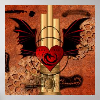 Corazón con el dragón y las alas póster