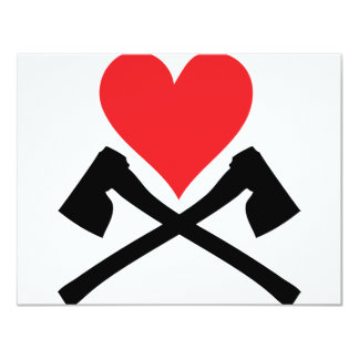 """corazón con el icono de las hachas invitación 4.25"""" x 5.5"""""""