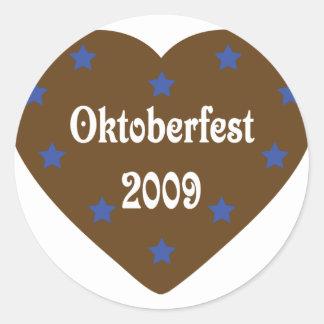 Corazón con el icono de Oktoberfest Pegatina Redonda