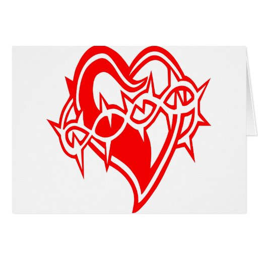 Corazón con el tatuaje del alambre de Barb Tarjetas