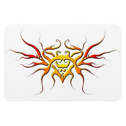 Corazón con el tatuaje tribal de las alas - llama imanes flexibles