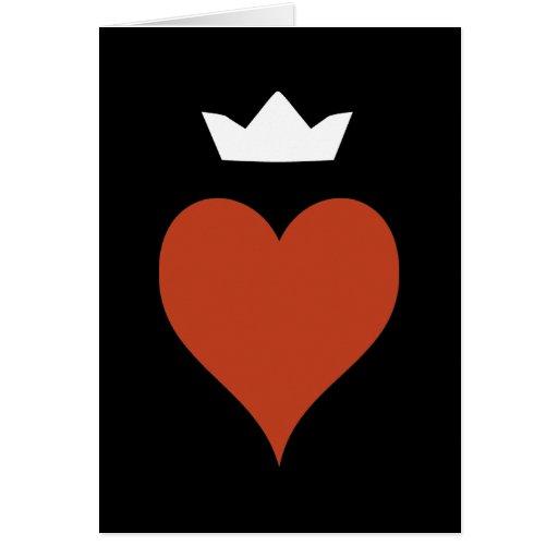 Corazón con la corona tarjetas