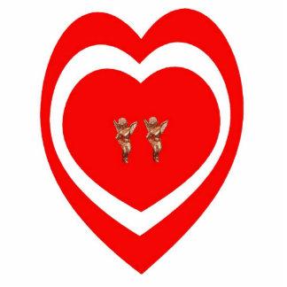Corazón con la escultura de la foto de 2 cupids esculturas fotográficas