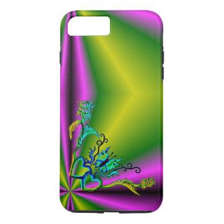 Corazón con la flor y la mariposa funda iPhone 7 plus
