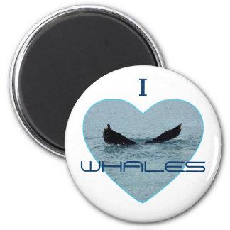 Corazón con la foto de la cola de la ballena imán redondo 5 cm