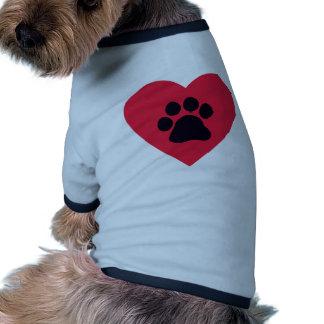Corazón con la impresión de la pata camiseta con mangas para perro