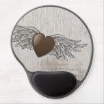 Corazón con las alas alfombrillas de ratón con gel