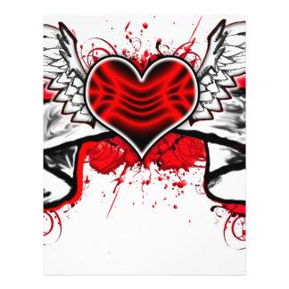 Corazón con las alas flyer a todo color